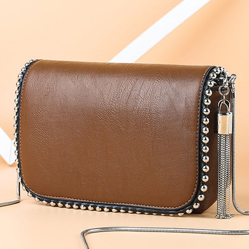 Women's Small Crossbody Messenger Bag with Tassel