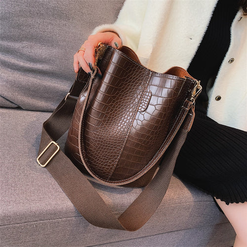 Women's PU Leather Shoulder Bucket Crossbody Bag