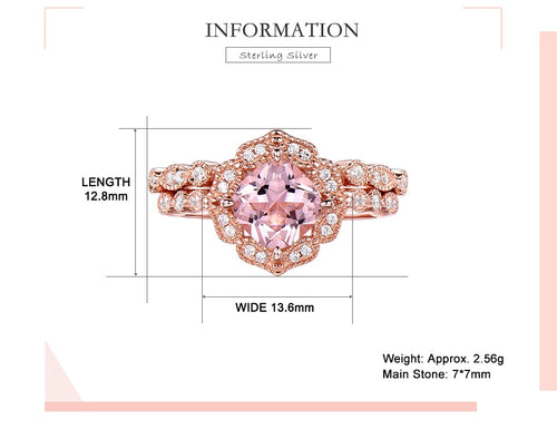Women's 925 Sterling Silver and Nano Morganite Ring Set
