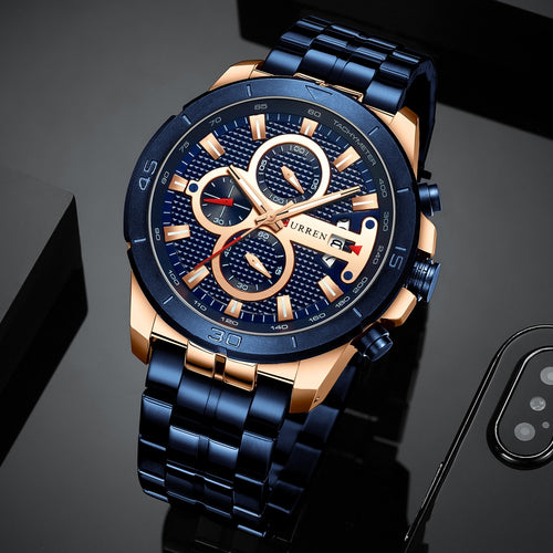 Men's Stainless Steel 3 ATM Waterproof Chronograph Quartz Watch