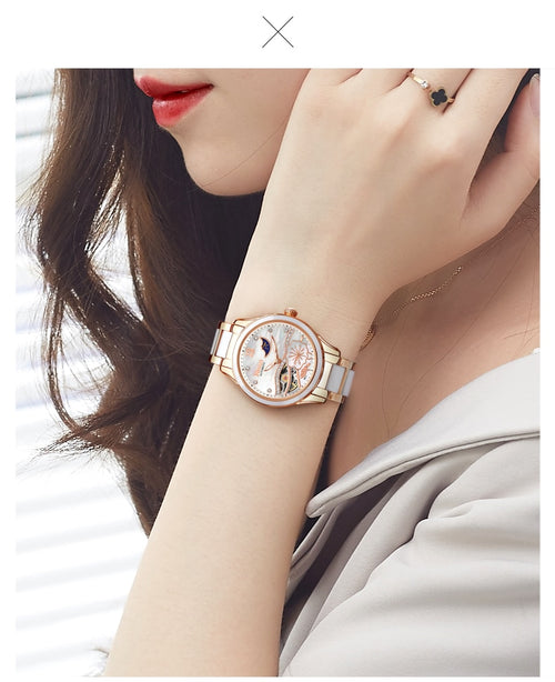 Women's Stainless Steel and Ceramic Waterproof Automatic Mechanical Watch with Jewel Stone Decoration