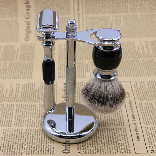 Men's Zinc Alloy Double Edge Safety Razor Manual Shaver and 10 Blade Set