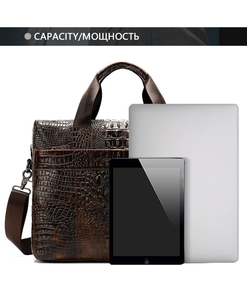 Men's Alligator Pattern Genuine Leather Shoulder Bag Briefcase Suitable for Laptop
