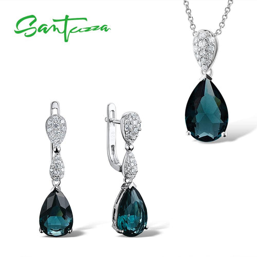 Women's 925 Sterling Silver Green Crystal Jewelry Set with Drop Earrings and Pendant Necklace