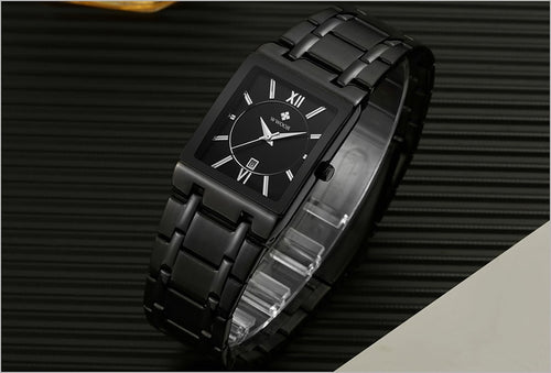 Men's Stainless Steel 3 ATM Waterproof Square Quartz Watch