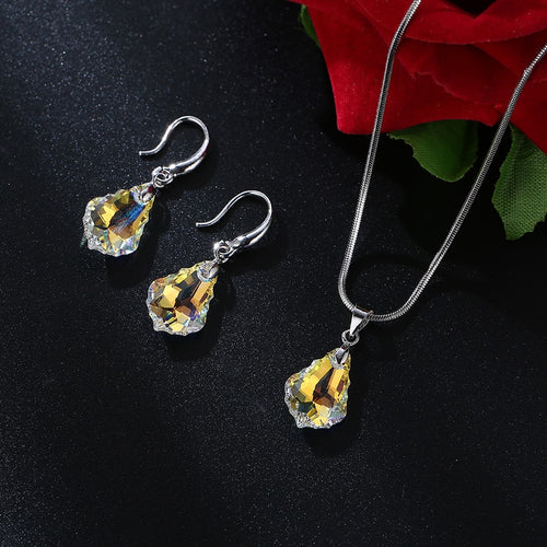 Women's Swarovski Crystal Water Drop Jewelry Set with Drop Earrings and Matching Pendant Necklace