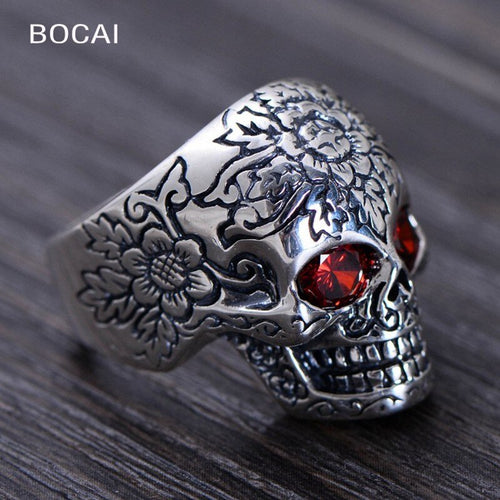 S925 Pure Silver Skeleton Ring for Men
