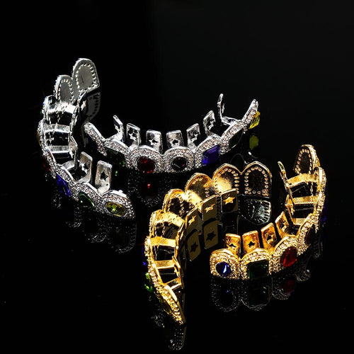 Women's Men's Top and Bottom Crystal Grills Set Hip Hop Body Jewelry