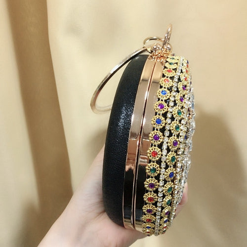Women's Round Crystal Clutch Bag Evening Purse