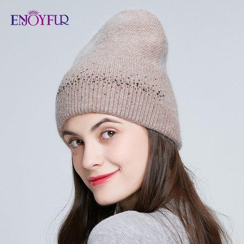 Women's Angora Winter Beanie Hat with Rhinestone Decoration