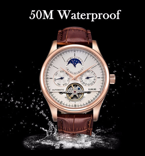 Women's Stainless Steel Waterproof Automatic Mechanical Watch with Leather Strap