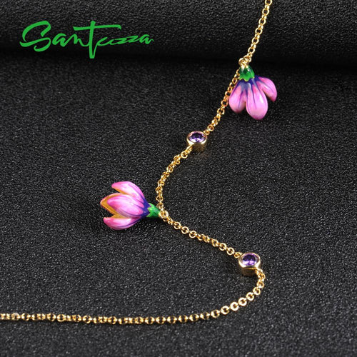 Women's 925 Sterling Silver Pink Flower Pendant Necklace
