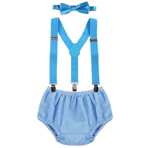 Baby Boys' 3 Piece Clothing Set with Pull On Shorts Matching Suspenders and Bowtie