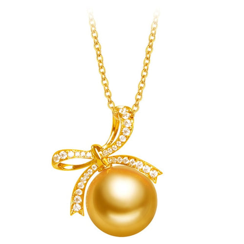 YS 18K Solid Gold 11-12mm Pearl Pendant Necklace
