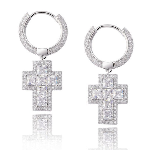 Men's Women's Fashion Jewelry Copper Cross Earrings with Rhinestones