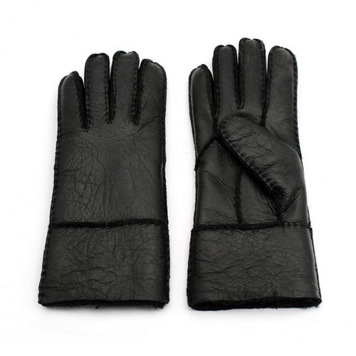 Men's Genuine Leather Sheep Fur Lined Thick Gloves