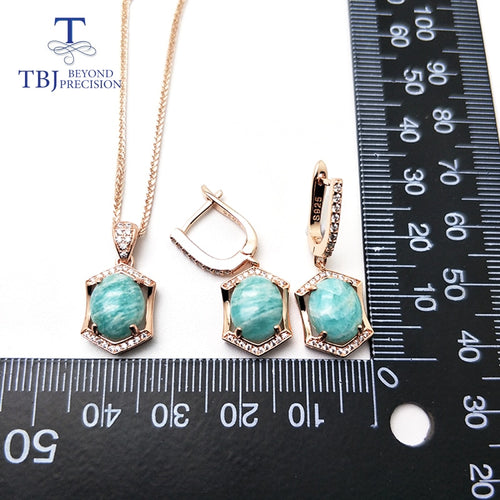 Women's 925 Sterling Silver and Natural Amazonite Jewelry Set with Drop Earrings and Matching Pendant Necklace