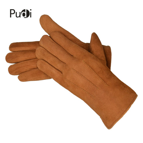 Men's Genuine Leather Fur Lined Gloves
