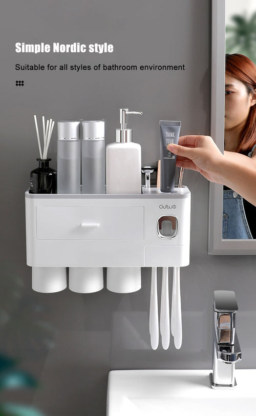 Oneup Toothbrush Holding and Automatic Toothpaste Dispenser