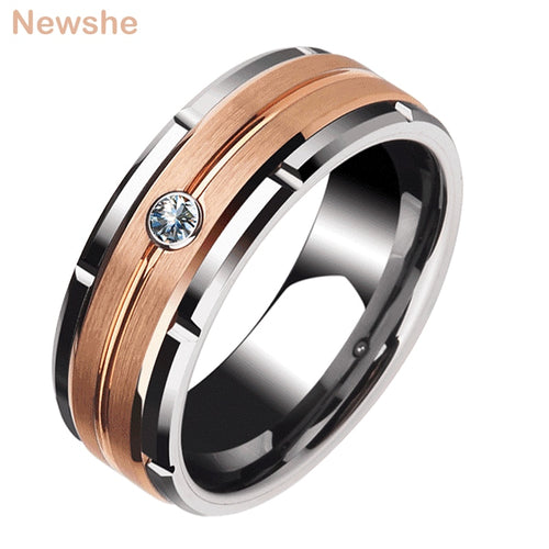 Newshe 8mm Tungsten Carbide Promise Rings for Men and Women