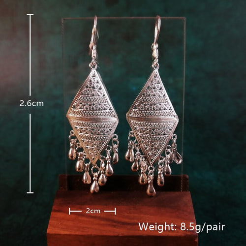 Women's 999 Sterling Silver Handmade Geometric  Drop Earrings with Tassels