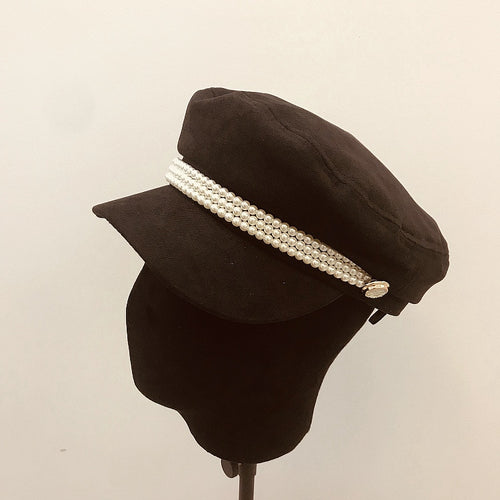 Women's Octagonal Hat Newsboy Cap with Pearl Decoration