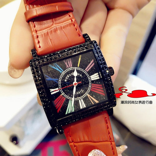 Women's Waterproof Shock Resistant Square Quartz Watch with Leather Band
