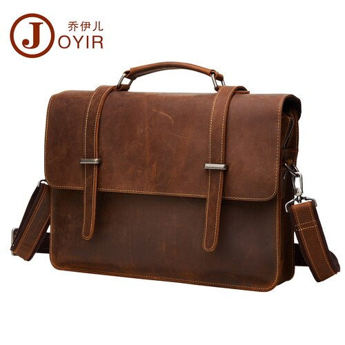 Men's Genuine Leather Office Briefcase One Shoulder 15'' Laptop Messenger Bag