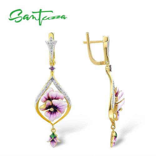 Women's 925 Sterling Silver Pink Flower Handmade Enamel Drop Earrings