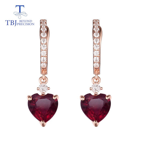 Women's 925 Sterling Silver Natural Ruby Heart Clasp Drop Earrings