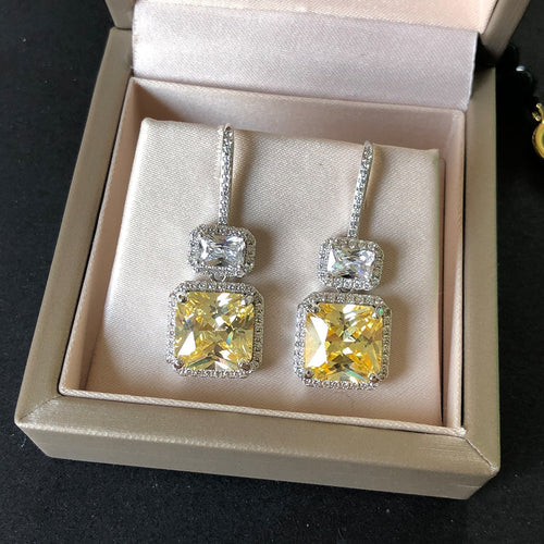 Women's 925 Sterling Silver Citrine Dangle Drop Earrings