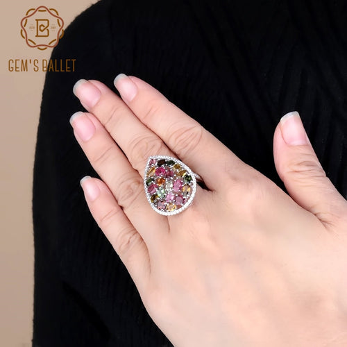 Women's 925 Sterling Silver and Natural Tourmaline Cocktail Ring