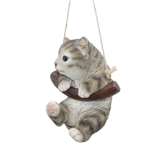 Resin Hanging Cat Garden Decoration