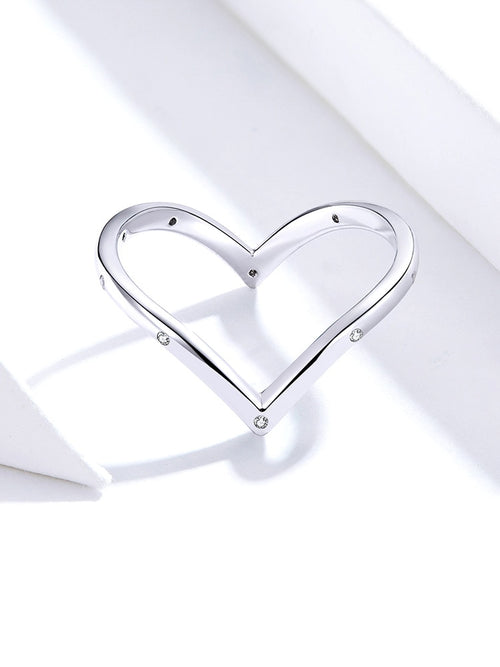 Women's 925 Sterling Silver Heart Shaped Finger Ring