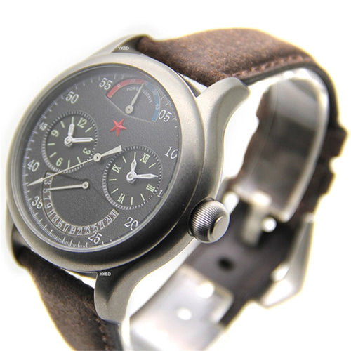 Men's Stainless Steel Waterproof Dual Time Zone Automatic Mechanical Watch with Leather Strap