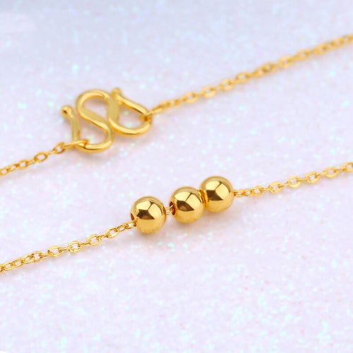 Women's Genuine 24K Gold Chain Necklace with Beads
