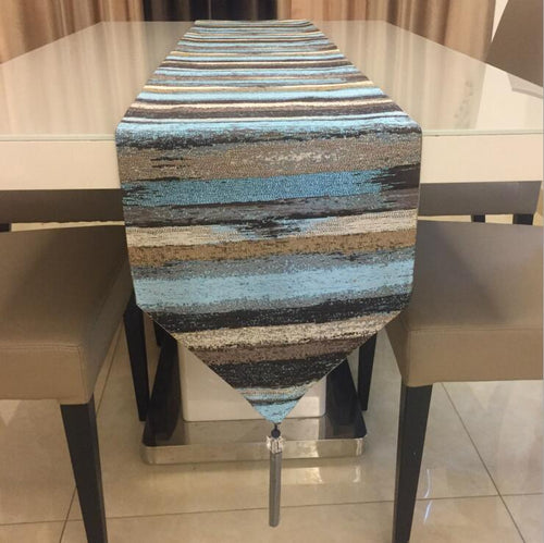 Fyjafon Blue Stripe Polyester Decorative Table Runner