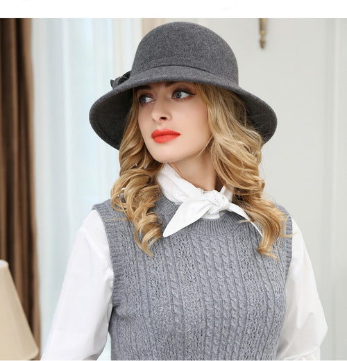 Women's Large Brim Wool Fedora Hat with Flower Decoration