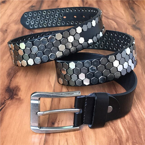 Men's Genuine Cowskin Leather Metal Rivet Belt