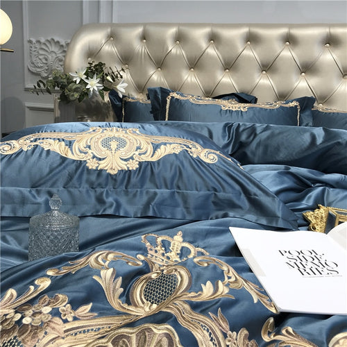 Four Piece Silk Blend Bedding Set with Embroidery