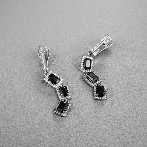 Women's 925 Sterling Silver Long Clasp Earrings with Natural Black Sapphire