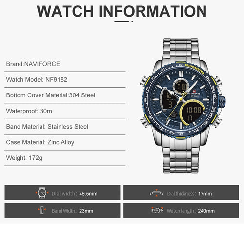 Men's Stainless Steel 3 ATM Waterproof Watch with Dual Display and Luminous Hands