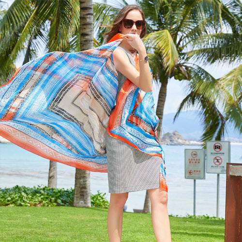 Women's 100% Silk Patterned Poncho Scarf