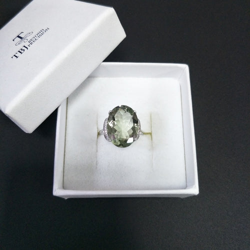 Women's Fine Jewelry 925 Sterling Silver Green Amethyst Ring