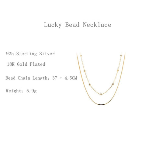 Women's 925 Sterling Silver 18K Gold Plated Double Layer Necklace