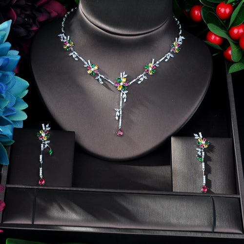 Women's Cubic Zirconia Flower Jewelry Set with Drop Earrings and Matching Pendant Necklace