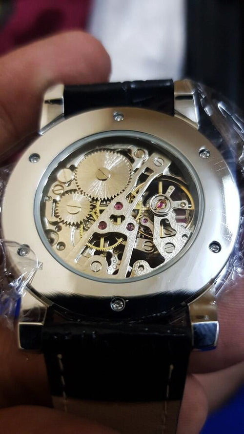 Men's Stainless Steel Mechanical Skeleton Watch with Luminous Hands