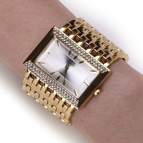 Women's Stainless Steel Rectangular Quartz Watch with Wide Bracelet Band