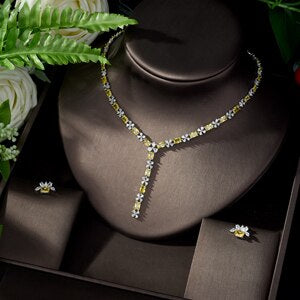 Women's 2 Piece Cubic Zirconia Bridal Jewelry Set with Stud Earrings and Pendant Necklace