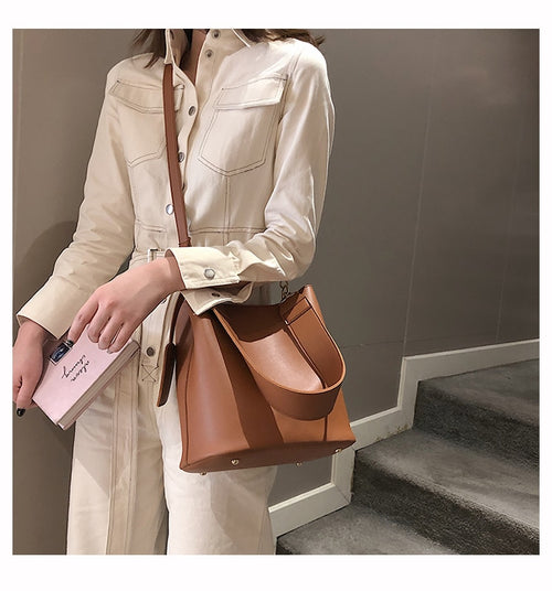 Women's PU Leather Wide Strap Bucket Bag